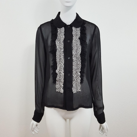 07a4db50 Comme des Garcons Tops - {Comme des Garcons} Black Sheer Ruffle Shirt Small